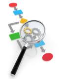 Lupe über Prozessdiagramm